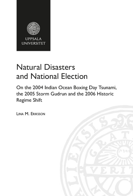 Natural Disasters And National Election On The 2004 Indian Ocean Boxing Day Tsunami 2005 Storm Gudrun 2006 Historic Regime Shift
