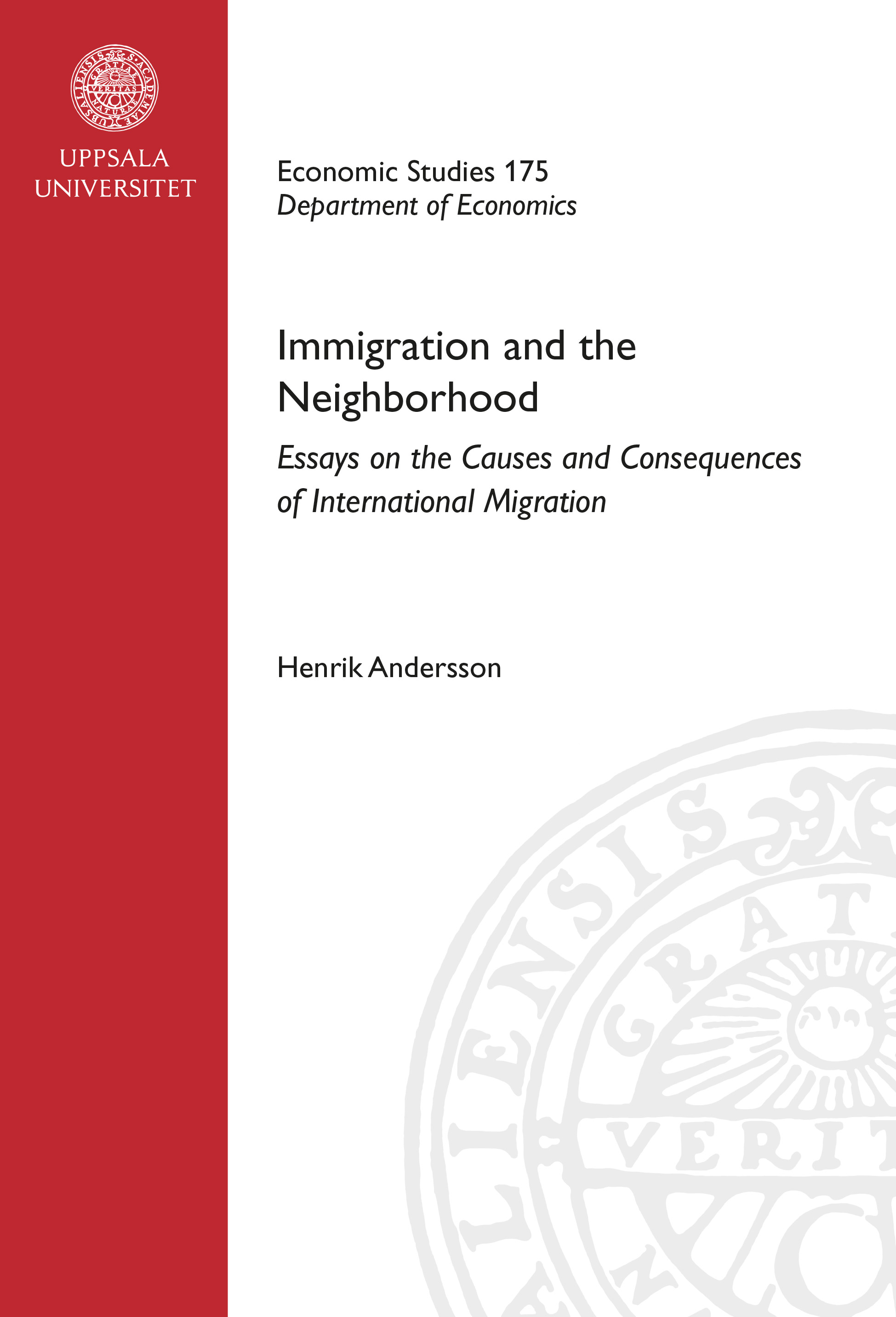 Immigration and the neighborhood essays on the causes and